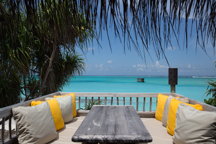 views from beach villa at Six Senses Laamu, one of the best surf resorts in the Maldives
