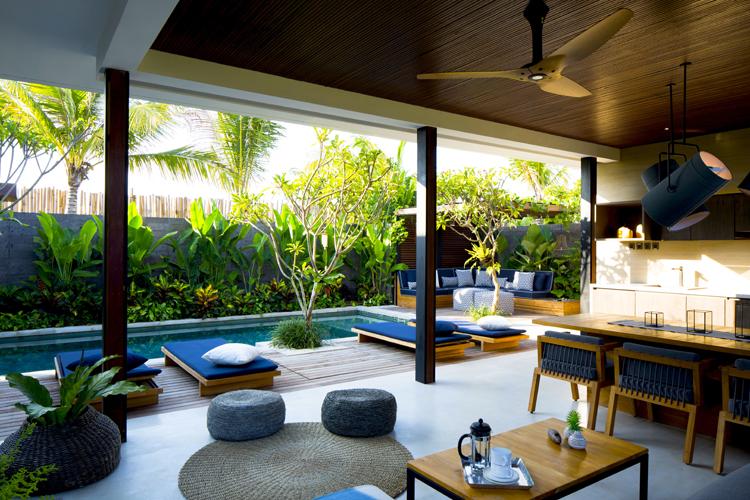 Interior of Komune Villa at Komune Resort Keramas Bali surf resort in Indonesia