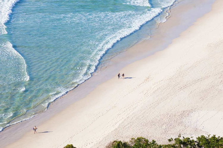 Aerial of the beach infront of Halcyon House Australian Surf Resort
