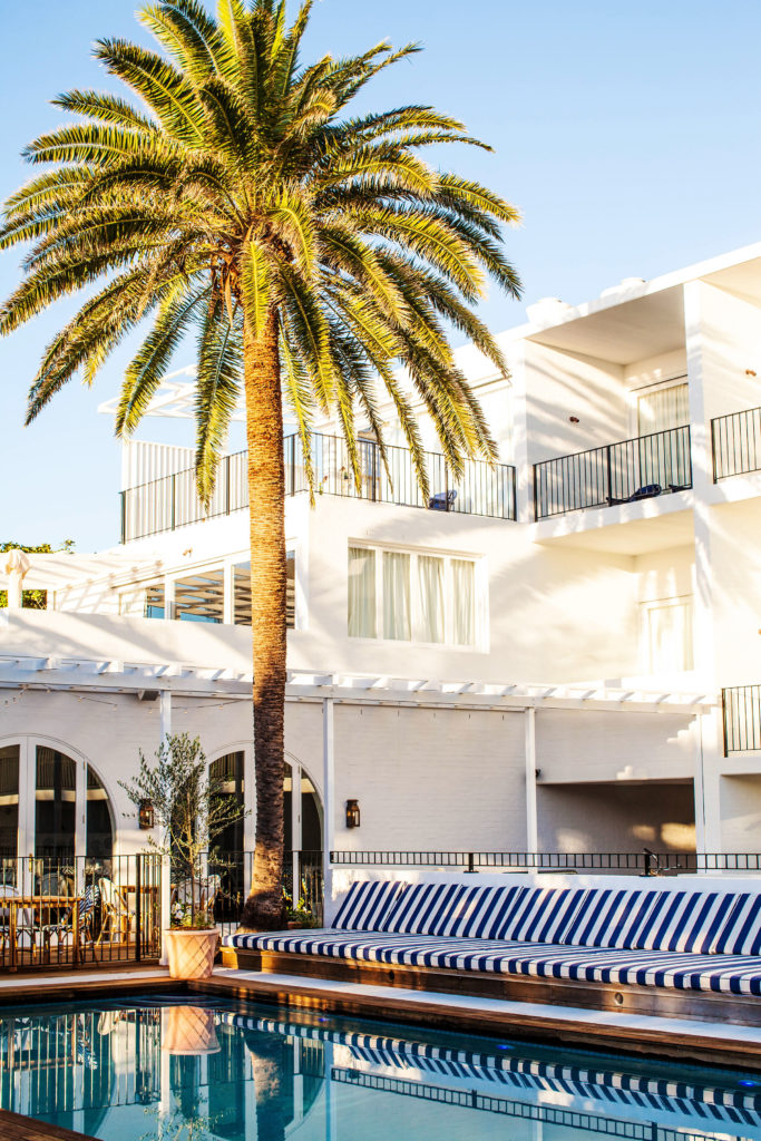 Grand palms and nautical stripes at Halcyon House