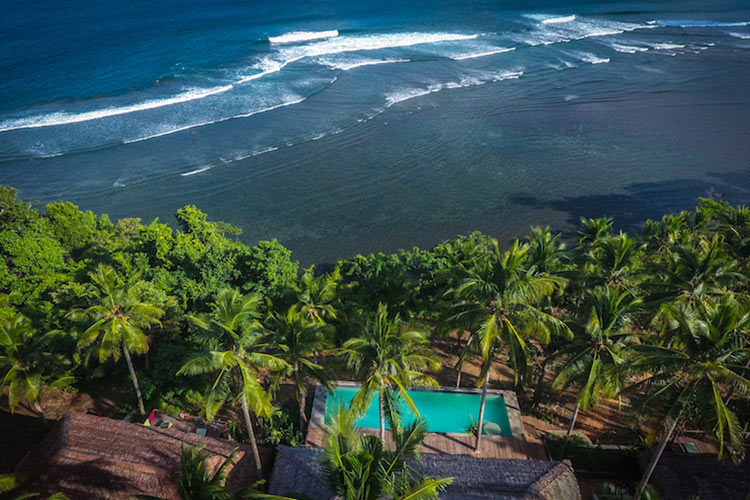 Aerial view of Moro Ma Doto Morotai Island Surf Resort Indonesia